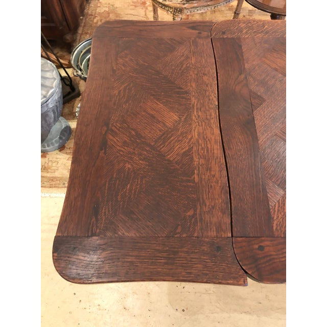 French Country Small Parquetry Walnut Refractory Table For Sale - Image 4 of 11