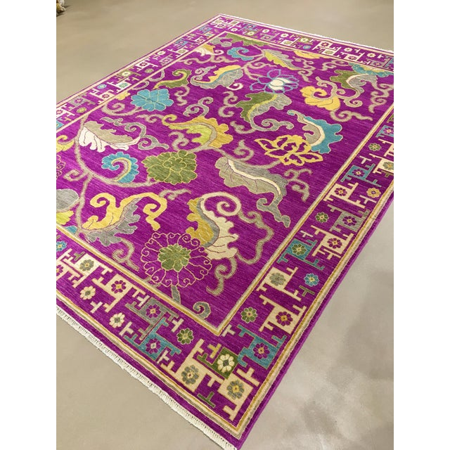 "Exotic Fuschia Chinese Design Rug, 8' X 10'3"" For Sale - Image 11 of 12"