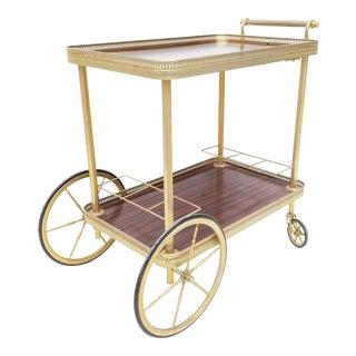 Maison Jansen French Neoclassical Brass Bar Cart For Sale