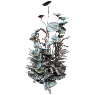 Patinated Copper Plant Sculpture For Sale