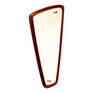 Mid Century Modern Retro Asymmetrical Danish Teak Hanging Wall Mirror For Sale