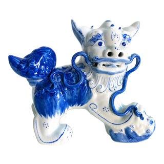 Vintage Blue & White Porcelain Chinoiserie Style Foo Dog Figure