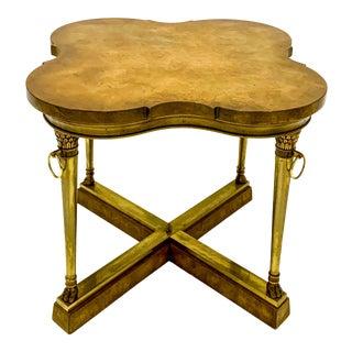 Mastercraft Bronze & Burl Quatrefoil Side Table For Sale