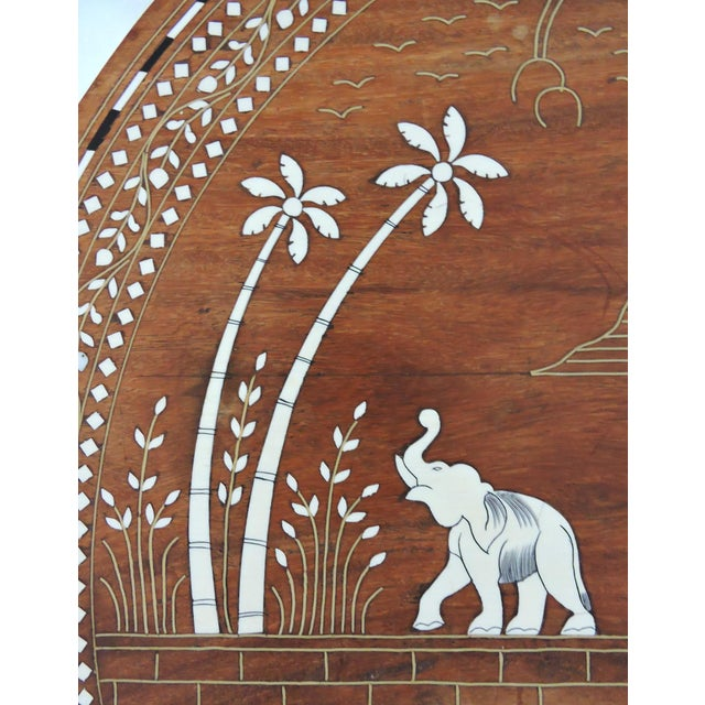 White Vintage Inlayed Indian 'Elephant Caravan' Teak Wood & Ebony Round Coffee / Side Table For Sale - Image 8 of 8