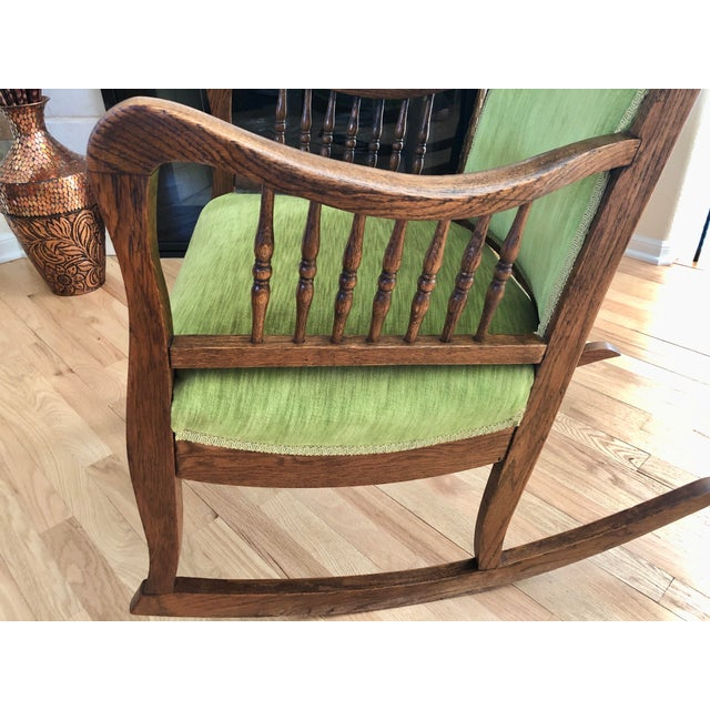 Wood Late 19th Century Antique Oak Wood Mortise and Tenon Upholstered Rocking Chair For Sale - Image 7 of 13