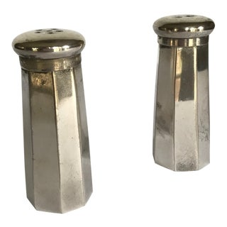 Silver Octagonal Salt and Pepper Shakers For Sale
