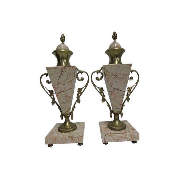 Antique French Bronze Marble Cassolettes - A Pair - Image 1 of 6