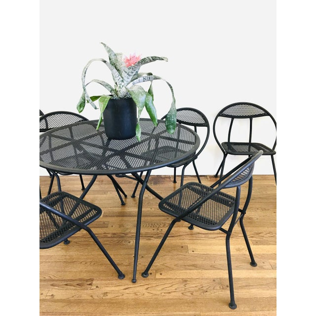 Salterini 1960s Mid Century Modern Rid-Jid Folding Patio Table & 6 Chairs Set, 7 Pieces For Sale - Image 4 of 11