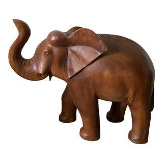 Vintage Oversized Solid Wood Elephant Statue For Sale