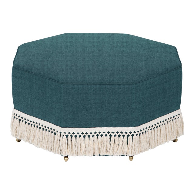 Transitional Casa Cosima Istanbul Cocktail Ottoman, Ocean For Sale - Image 3 of 3