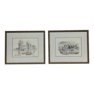 Lithograph Castle Charcoals Brian Lewis - A Pair For Sale