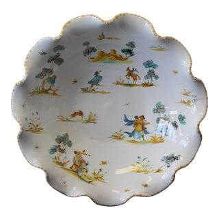 Vintage Ernan Albisola Italian Scalloped Bowl For Sale
