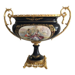 Late 19th Century Acf Victorian Romantic French Porcelain Gilt Vase For Sale