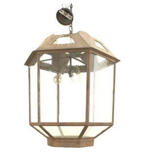 Italian Renaissance Style Six-Sided Iron and Glass Lantern For Sale
