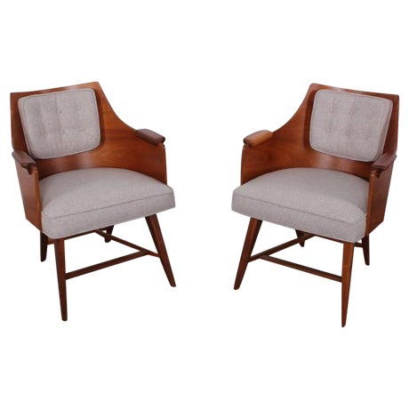 Rare Pair of Lounge Chairs by Edward Wormley for Dunbar - Image 1 of 10