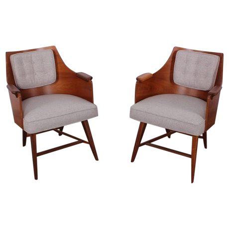 Fine Rare Pair Of Lounge Chairs By Edward Wormley For Dunbar | DECASO