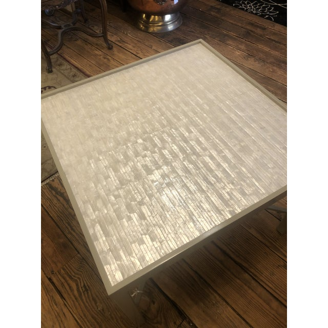 Cream Abalone and Grey Painted Square Cocktail Table For Sale - Image 8 of 10