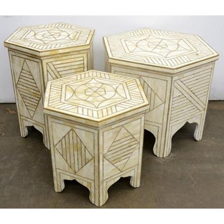 Indian Hexagonal Bone Inlay W/ Brass Side Table Preview