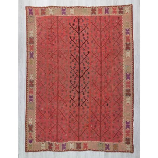 Large vintage kilim rug from Bulgaria. In good condition. Approximately 55-65 years old.