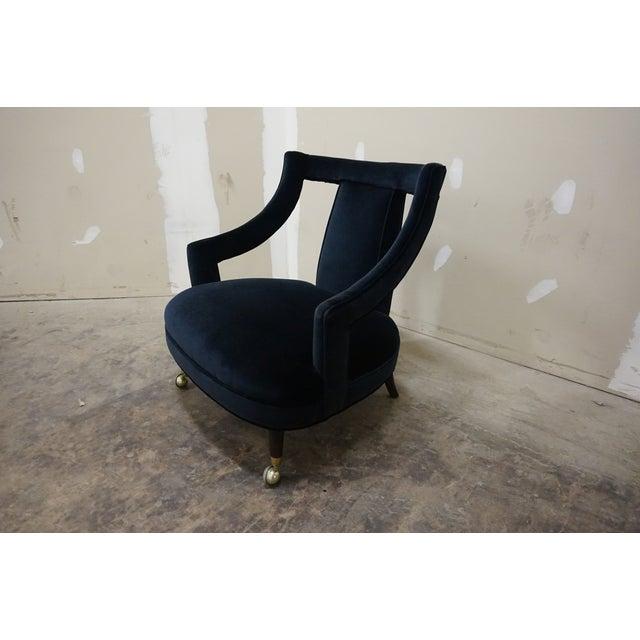 1950s Italian Gio Ponti Era Black Velvet Gondola Chairs - a Pair For Sale In New York - Image 6 of 13