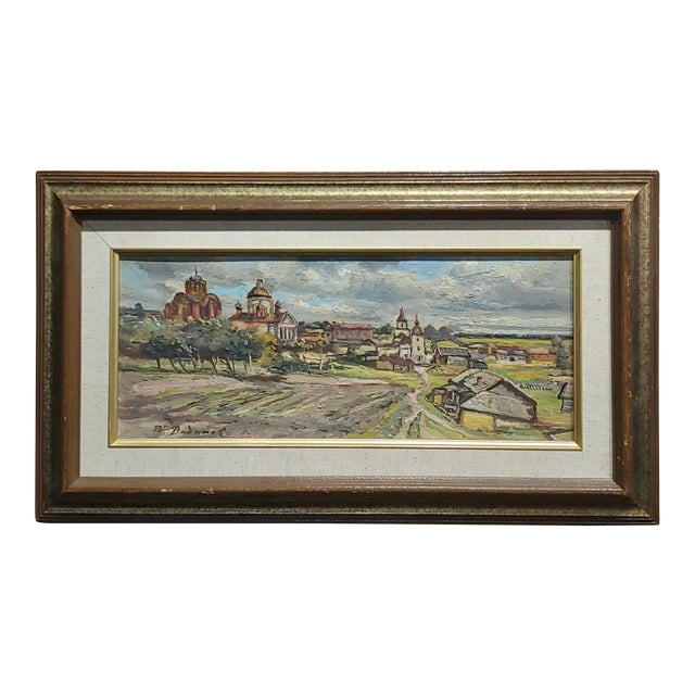Tatyana Radimova -Khotkovo Village Landscape-1968 Russian Oil Painting For Sale