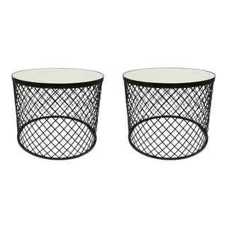 Modern Iron and Mirror Cage Bunching Tables Pair For Sale