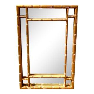 Hollywood Regency Gilt Bamboo Mirror For Sale