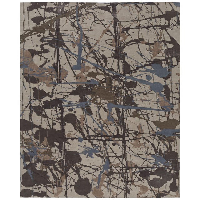 Abstract ModernArt - Customizable Lapis Rug (9x12) For Sale - Image 3 of 3