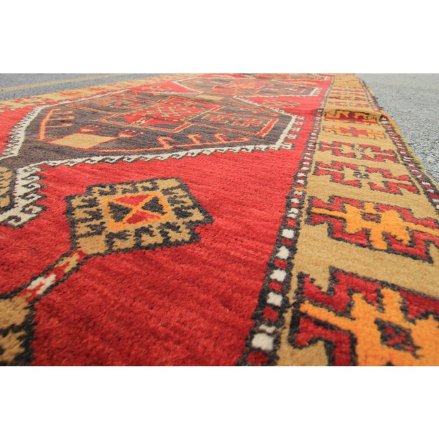 Vintage Tribal Antique Turkish Oushak Hand Knotted Rug - 3'9 X 11'10 For Sale - Image 4 of 5