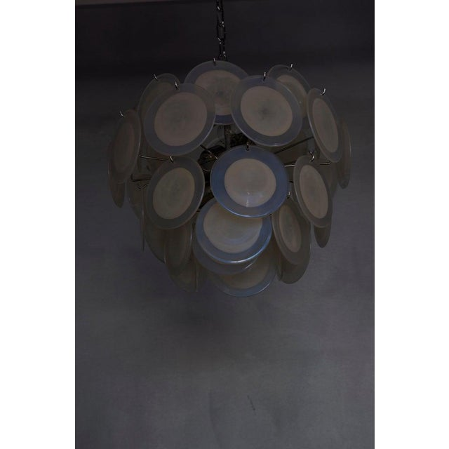 One of Two White Iridescent Murano Glass Disc Chandelier Attributed to Vistosi For Sale - Image 4 of 8