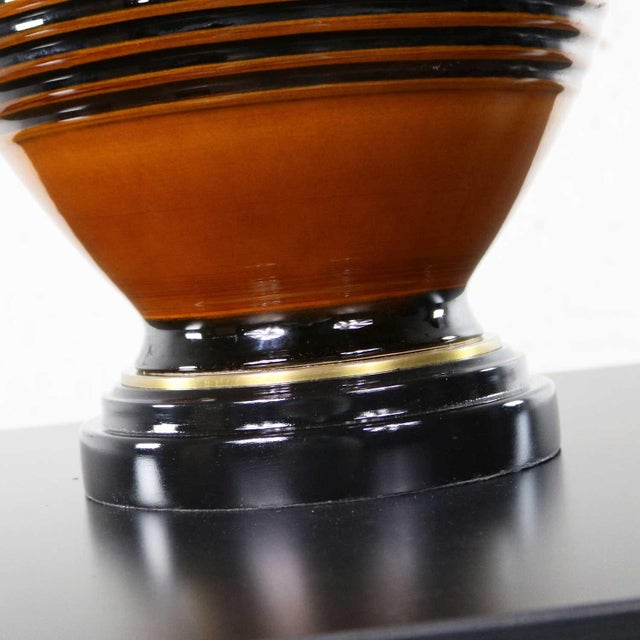 Large Brown and Black Mid Century Modern Bulbous Ceramic Lamp For Sale - Image 9 of 13