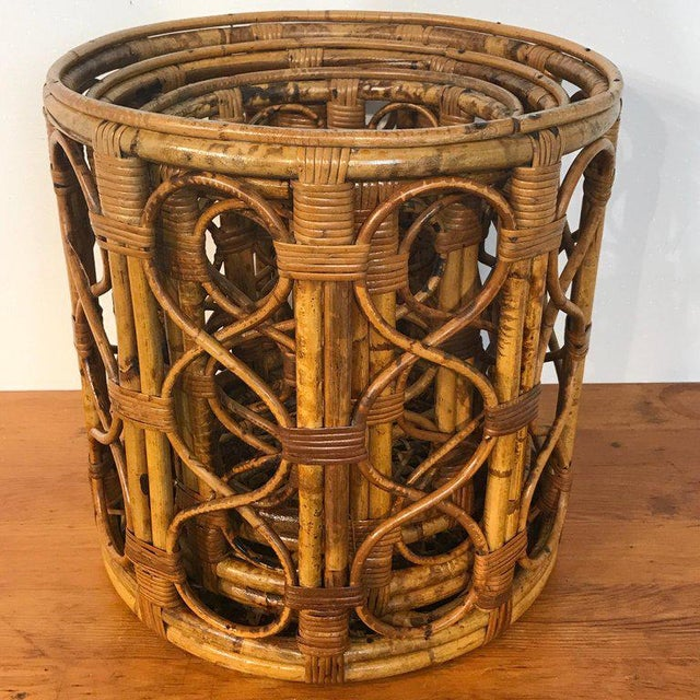 Set of Three Graduating/ Nesting Bamboo, Rattan and Reed Nesting Side Tables For Sale - Image 10 of 13