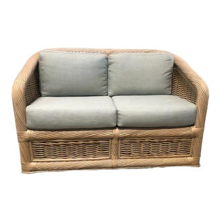 1970s Vintage Pencil Reed & Rattan Sofa For Sale