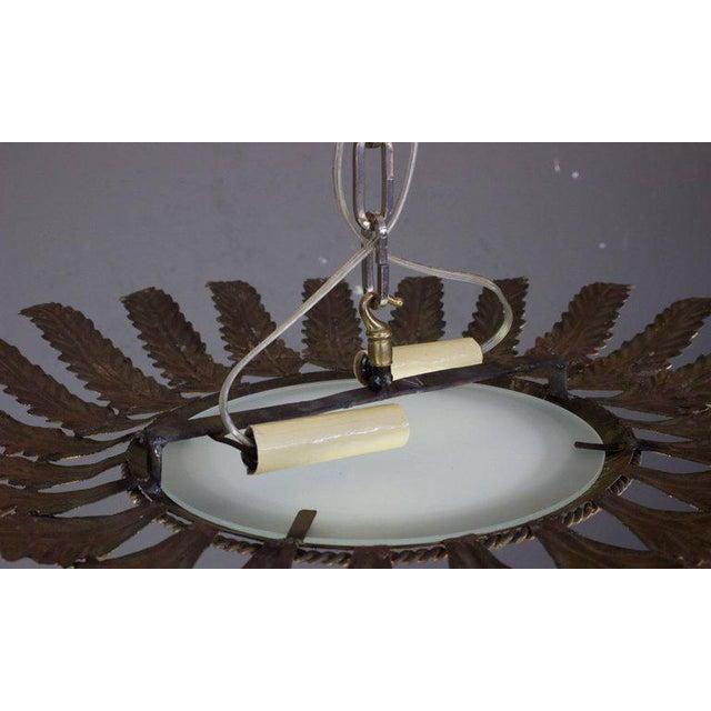 Metal Spanish Gilt Metal Sunburst Flush Mount Ceiling Fixture For Sale - Image 7 of 8