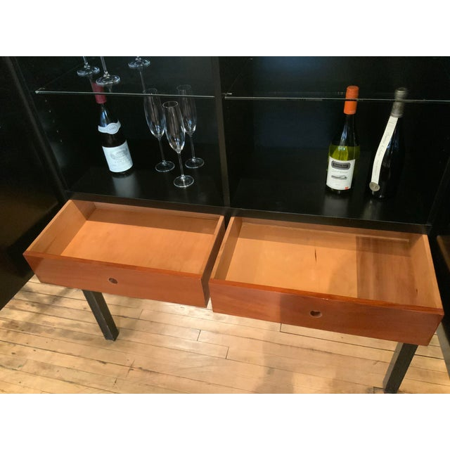 Charak Modern 1940s Tommi Parzinger Lacquered Leather Bar Cabinet For Sale - Image 4 of 11