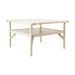 McGuire Bamboo Rattan Two-Tier Cerused Cocktail Table For Sale