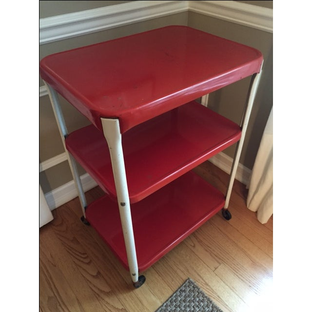 Vintage Red Metal Kitchen Cart - Image 2 of 4