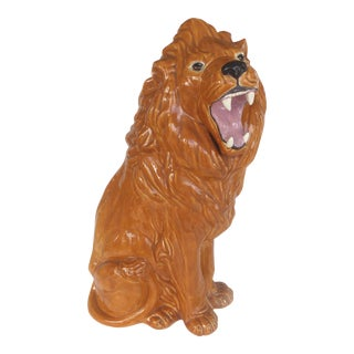 Over-Scale Glazed Ceramic Lion by Crest Mold, 1973 For Sale