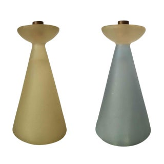 Late Modernist Frosted Colored Lucite Candlestick Holder, Pair For Sale
