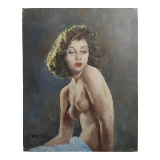 Pal Fried - Portrait of a Nude Female With Blue Eyes -Oil Painting For Sale