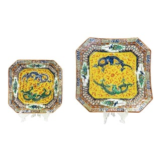 Chinese Famille Jaune Graduated Square Serving Trays (Plates) With Dragons, Early Republic Period For Sale