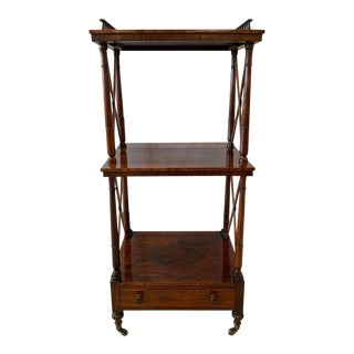 English 19th Century Regency Rosewood Étagère Two-Tier Stand With Drawer For Sale