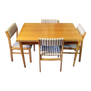 Vintage Five Piece Teak & Maple Dining Set C.1960s For Sale