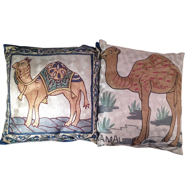 Silk Embroidered Ari Pillows - A Pair - Image 1 of 11