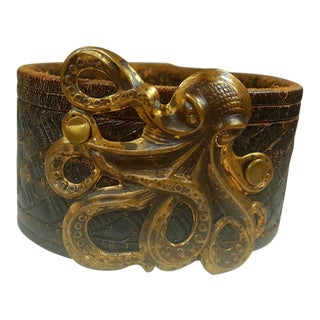 Octopus Leather Snap Cuff For Sale