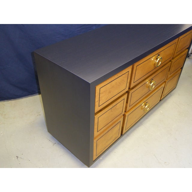 Mahogany 1950s Modern Ebonized Mahogany Dresser Credenza with Brass Ring Pulls For Sale - Image 7 of 11