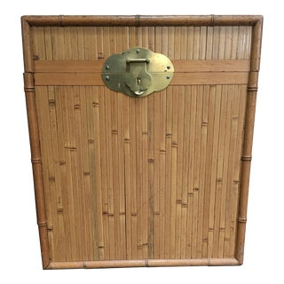 Vintage Boho Bamboo and Brass Trunk Table For Sale