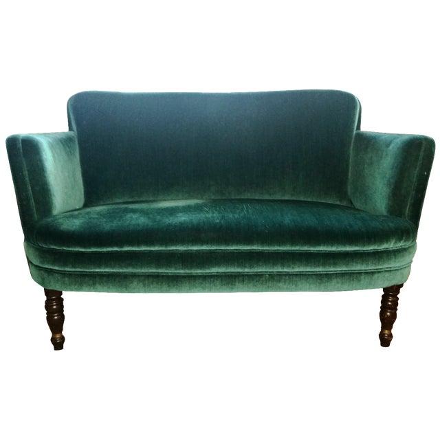Teal Green Velvet Love Seat For Sale