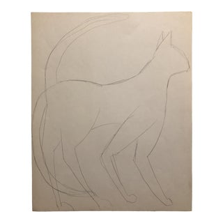 James Bone Cat Drawing 1970s For Sale