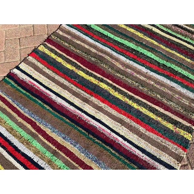 Textile Vintage Striped Turkish Kilim Rug For Sale - Image 7 of 10